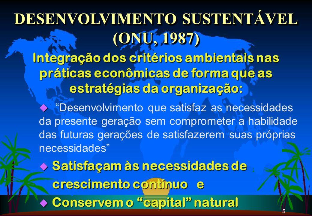 5 DESENVOLVIMENTO SUSTENTÁVEL (ONU, 1987) DESENVOLVIMENTO SUSTENTÁVEL (ONU, 1987) Integração dos critérios ambientais nas práticas econômicas de forma