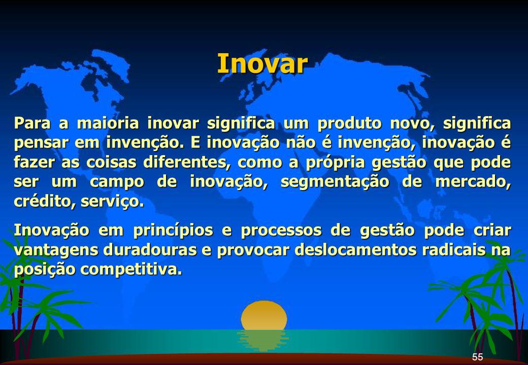 55 Inovar Para a maioria inovar significa um produto novo, significa pensar em invenção. E inovação não é invenção, inovação é fazer as coisas diferen
