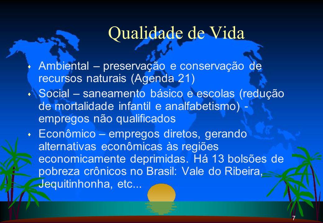 7 Qualidade de Vida s Ambiental – preservação e conservação de recursos naturais (Agenda 21) s Social – saneamento básico e escolas (redução de mortal