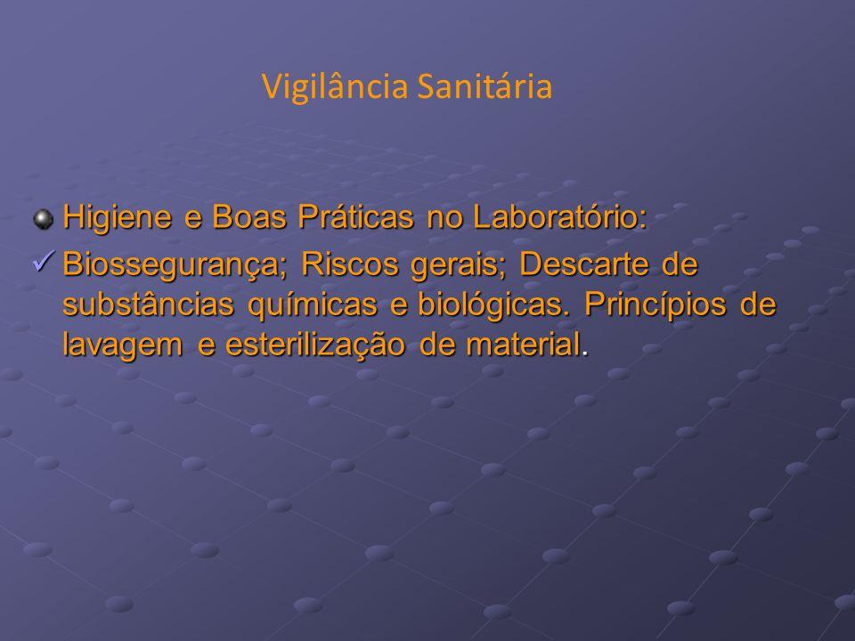Higiene e Boas Práticas no Laboratório: Biossegurança; Riscos gerais; Descarte de substâncias químicas e biológicas. Princípios de lavagem e esteriliz