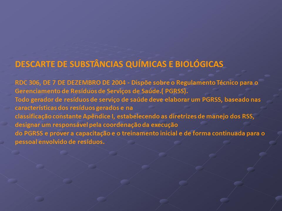 DESCARTE DE SUBSTÂNCIAS QUÍMICAS E BIOLÓGICAS RDC 306, DE 7 DE DEZEMBRO DE 2004 - Dispõe sobre o Regulamento Técnico para o Gerenciamento de Resíduos