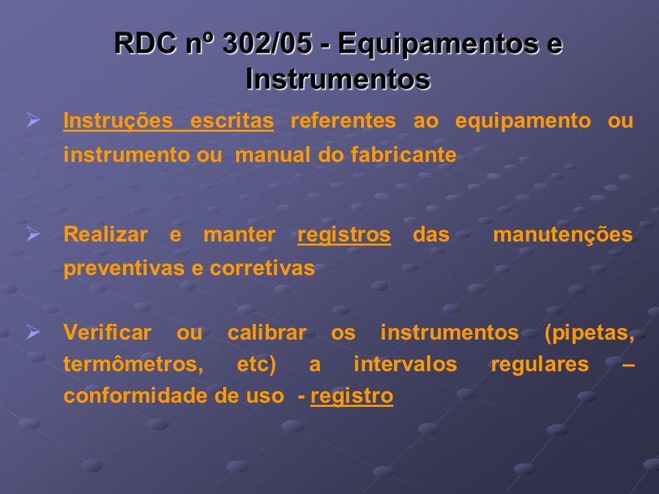 RDC nº 302/05 - Equipamentos e Instrumentos Instruções escritas referentes ao equipamento ou instrumento ou manual do fabricante Realizar e manter reg