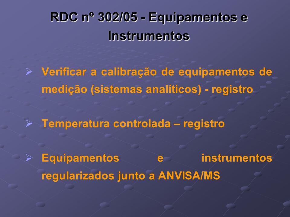 RDC nº 302/05 - Equipamentos e Instrumentos Verificar a calibração de equipamentos de medição (sistemas analíticos) - registro Temperatura controlada