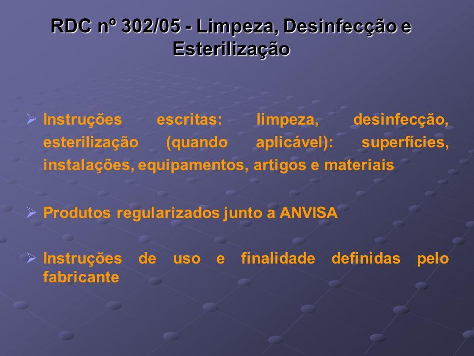 RDC nº 302/05 - Limpeza, Desinfecção e Esterilização Instruções escritas: limpeza, desinfecção, esterilização (quando aplicável): superfícies, instala