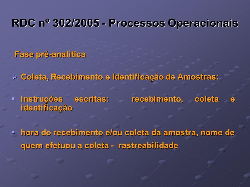 RDC nº 302/2005 - Processos Operacionais Fase pré-analítica Fase pré-analítica Coleta, Recebimento e Identificação de Amostras: Coleta, Recebimento e