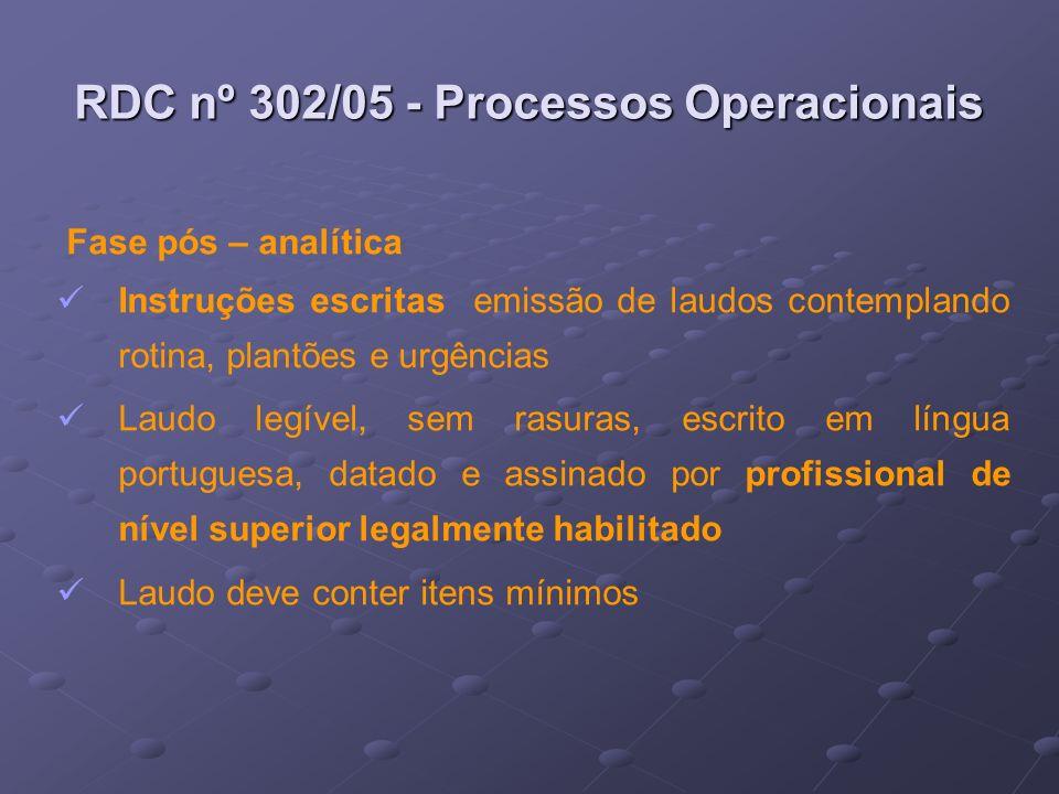 RDC nº 302/05 - Processos Operacionais Fase pós – analítica Instruções escritas emissão de laudos contemplando rotina, plantões e urgências Laudo legí
