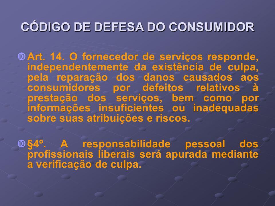 CÓDIGO DE DEFESA DO CONSUMIDOR Art. 14. O fornecedor de serviços responde, independentemente da existência de culpa, pela reparação dos danos causados