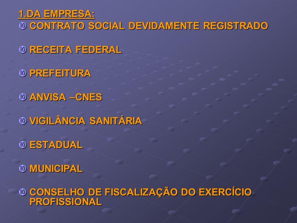 1.DA EMPRESA: CONTRATO SOCIAL DEVIDAMENTE REGISTRADO CONTRATO SOCIAL DEVIDAMENTE REGISTRADO RECEITA FEDERAL RECEITA FEDERAL PREFEITURA PREFEITURA ANVI