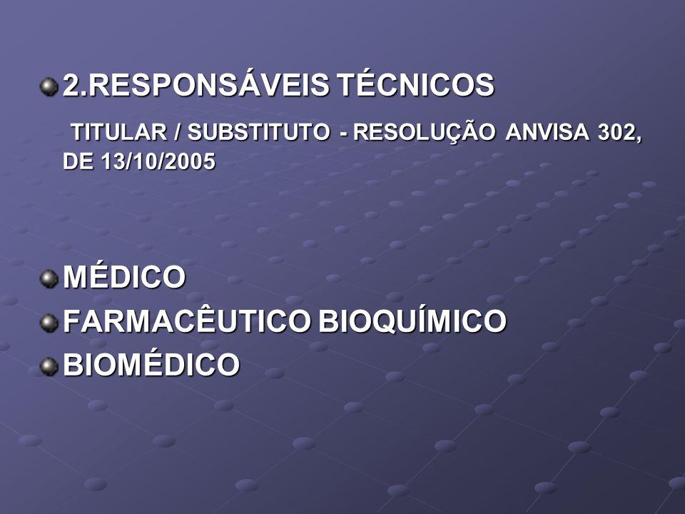 2.RESPONSÁVEIS TÉCNICOS TITULAR / SUBSTITUTO - RESOLUÇÃO ANVISA 302, DE 13/10/2005 TITULAR / SUBSTITUTO - RESOLUÇÃO ANVISA 302, DE 13/10/2005MÉDICO FA