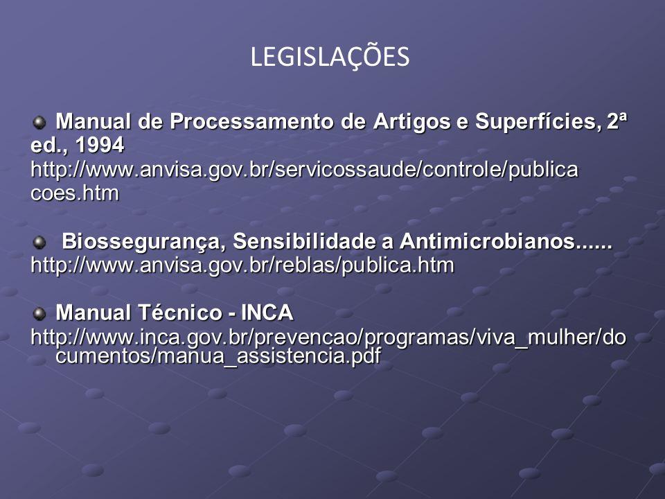 Manual de Processamento de Artigos e Superfícies, 2ª ed., 1994 http://www.anvisa.gov.br/servicossaude/controle/publicacoes.htm Biossegurança, Sensibil