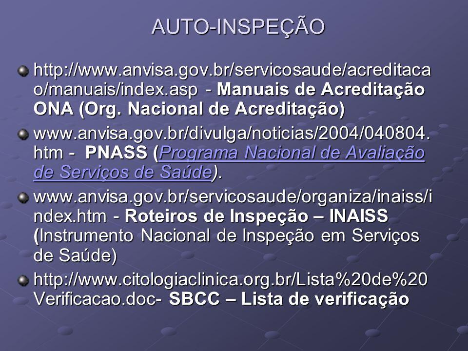 AUTO-INSPEÇÃO http://www.anvisa.gov.br/servicosaude/acreditaca o/manuais/index.asp - Manuais de Acreditação ONA (Org. Nacional de Acreditação) www.anv