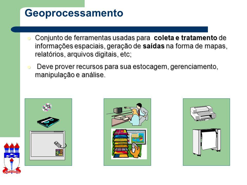 Geoprocessamento X SIGs Geoprocessamento representa qualquer tipo de processamento de dados georeferenciados (conceito muito mais abrangente).