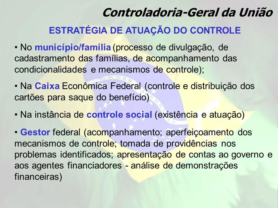 ESTRATÉGIA DE ATUAÇÃO DO CONTROLE No município/família (processo de divulgação, de cadastramento das famílias, de acompanhamento das condicionalidades