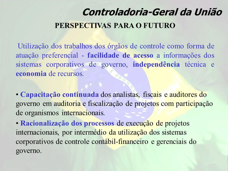 Controladoria-Geral da União PERSPECTIVAS PARA O FUTURO Utilização dos trabalhos dos órgãos de controle como forma de atuação preferencial - facilidad