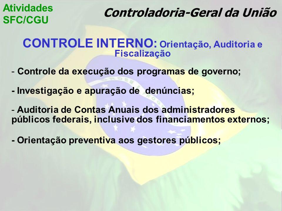 CONTROLE INTERNO: Orientação, Auditoria e Fiscalização - Controle da execução dos programas de governo; - Investigação e apuração de denúncias; - Audi