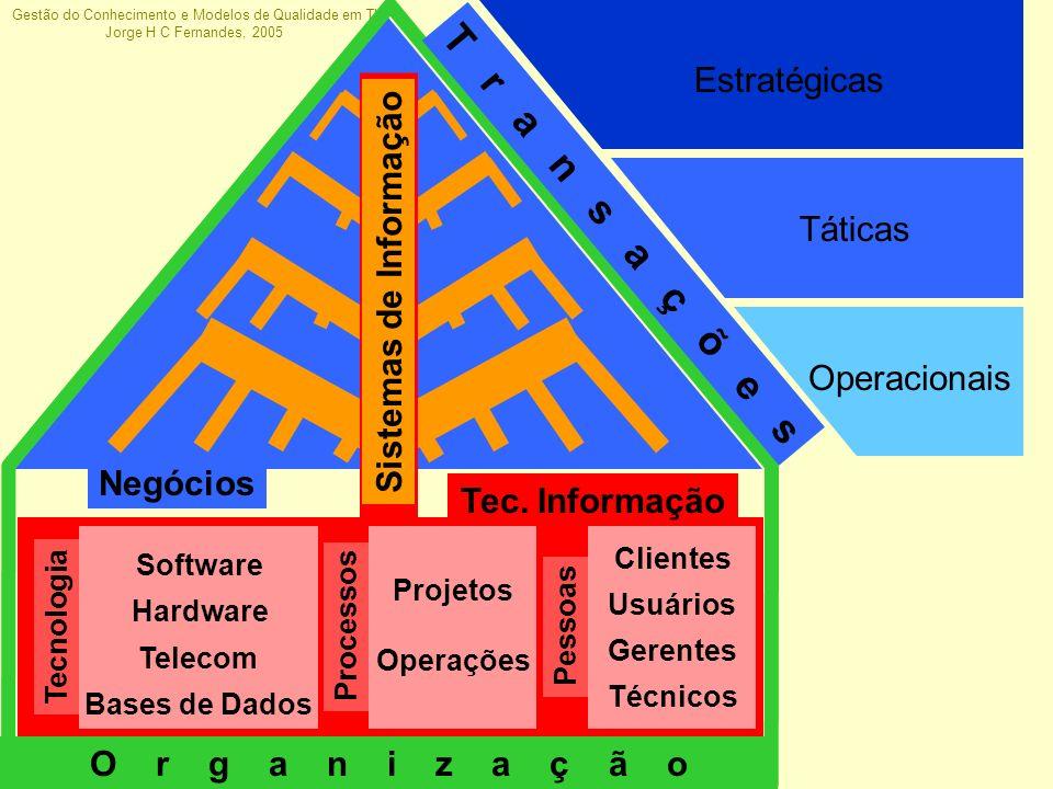 Gestão do Conhecimento e Modelos de Qualidade em TI Jorge H C Fernandes, 2005 Operacionais Táticas Estratégicas Sistemas de Informação Negócios T r a