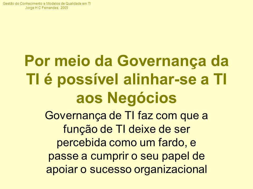 Gestão do Conhecimento e Modelos de Qualidade em TI Jorge H C Fernandes, 2005 Por meio da Governança da TI é possível alinhar-se a TI aos Negócios Gov