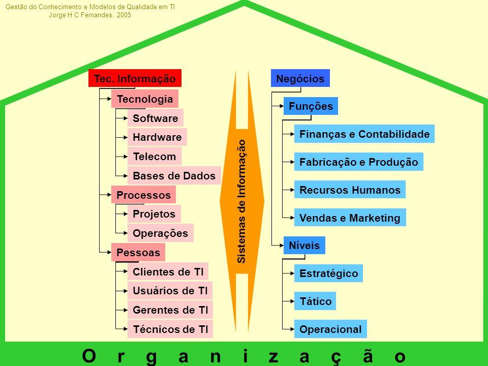 Gestão do Conhecimento e Modelos de Qualidade em TI Jorge H C Fernandes, 2005 O r g a n i z a ç ã o Negócios Software Hardware Telecom Bases de Dados