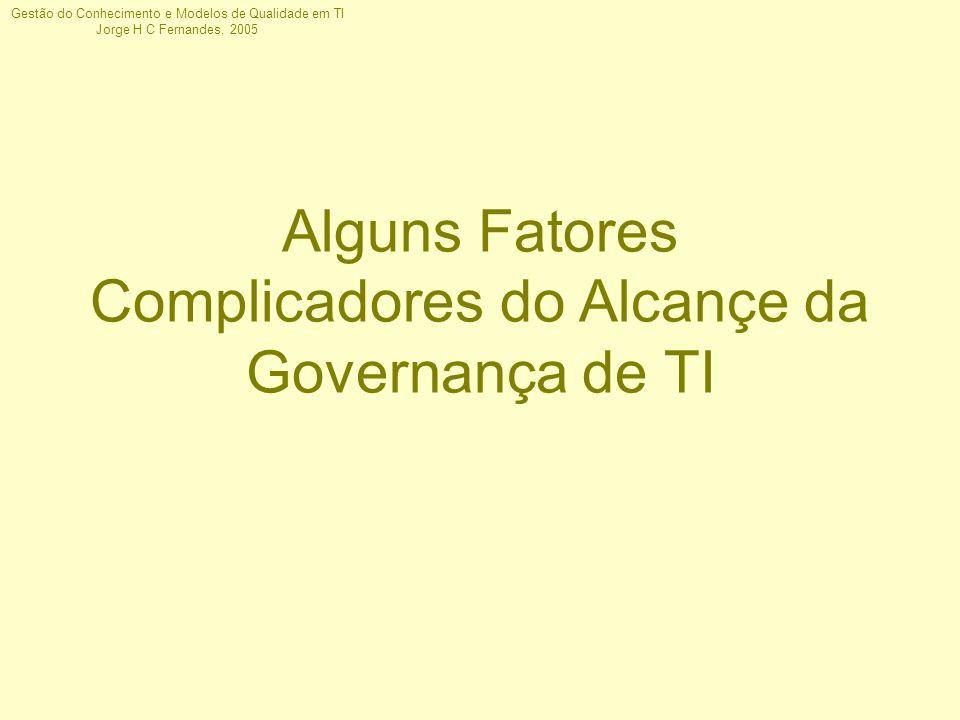 Gestão do Conhecimento e Modelos de Qualidade em TI Jorge H C Fernandes, 2005 Alguns Fatores Complicadores do Alcançe da Governança de TI
