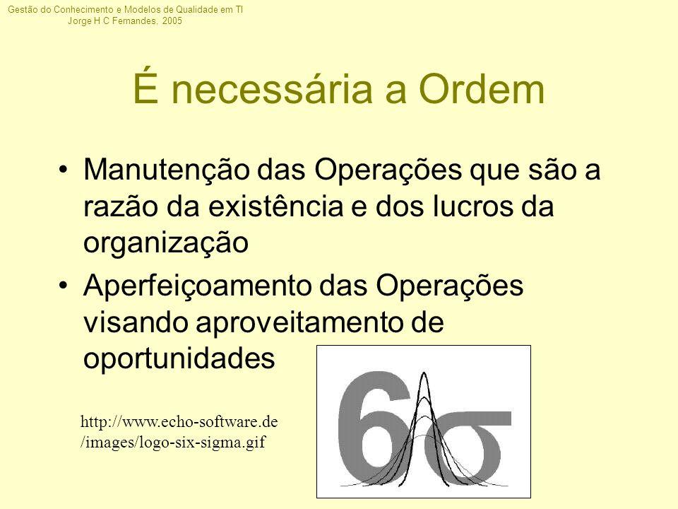 Gestão do Conhecimento e Modelos de Qualidade em TI Jorge H C Fernandes, 2005 É necessária a Ordem Manutenção das Operações que são a razão da existên