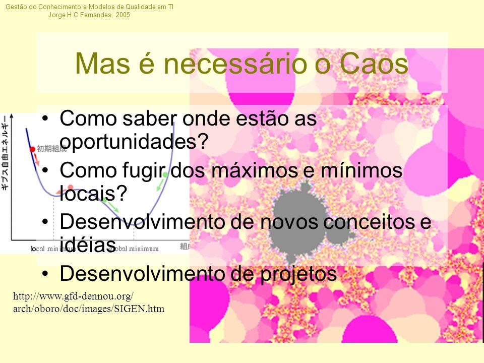 Gestão do Conhecimento e Modelos de Qualidade em TI Jorge H C Fernandes, 2005 Mas é necessário o Caos Como saber onde estão as oportunidades? Como fug