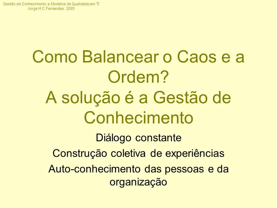 Gestão do Conhecimento e Modelos de Qualidade em TI Jorge H C Fernandes, 2005 Como Balancear o Caos e a Ordem? A solução é a Gestão de Conhecimento Di