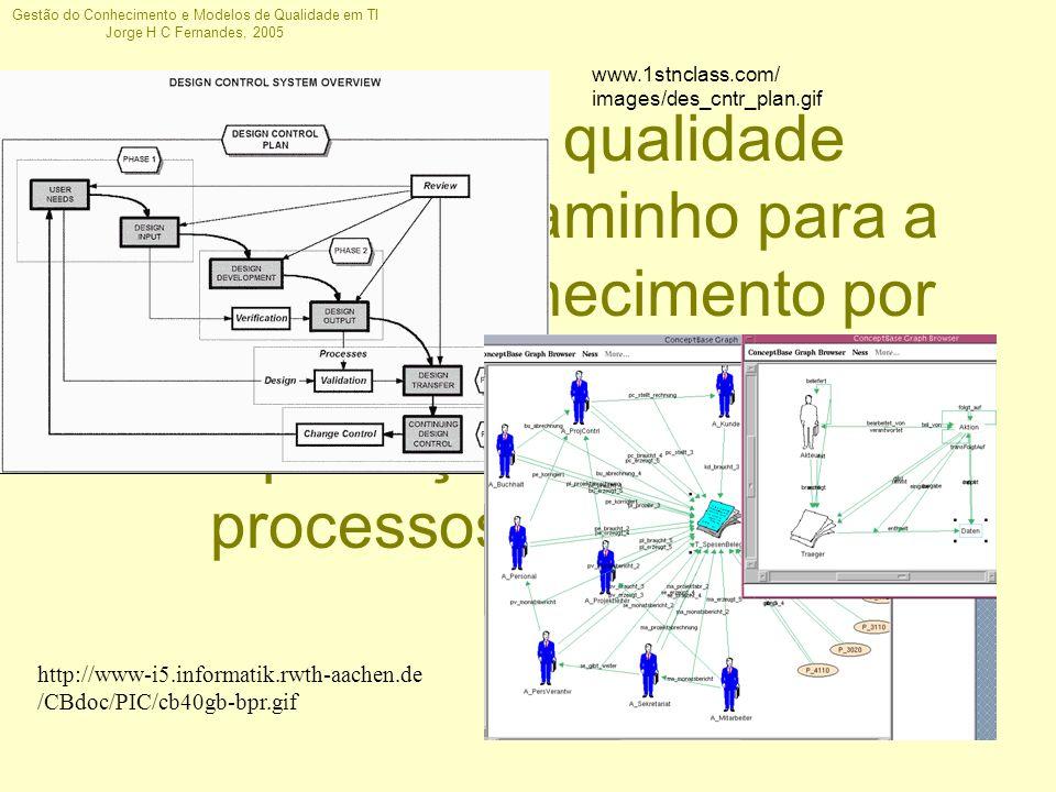 Gestão do Conhecimento e Modelos de Qualidade em TI Jorge H C Fernandes, 2005 Modelos de qualidade provêem um caminho para a gestão do conhecimento po