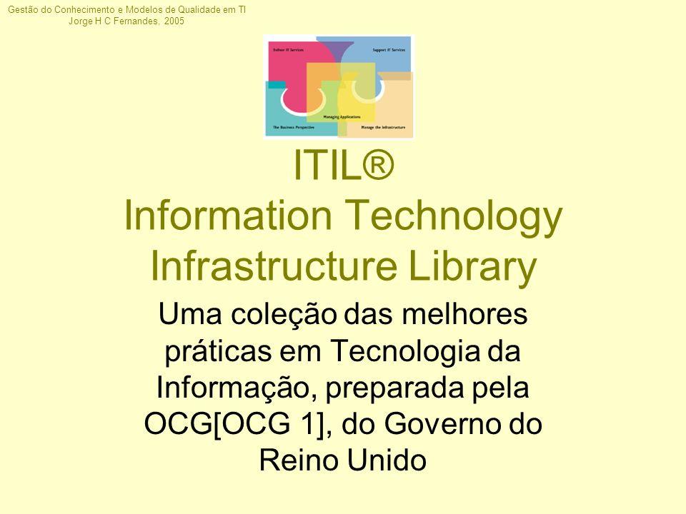 Gestão do Conhecimento e Modelos de Qualidade em TI Jorge H C Fernandes, 2005 ITIL® Information Technology Infrastructure Library Uma coleção das melh
