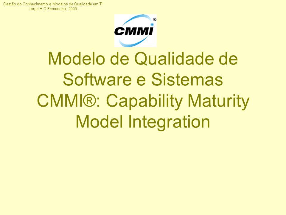 Gestão do Conhecimento e Modelos de Qualidade em TI Jorge H C Fernandes, 2005 Modelo de Qualidade de Software e Sistemas CMMI®: Capability Maturity Mo