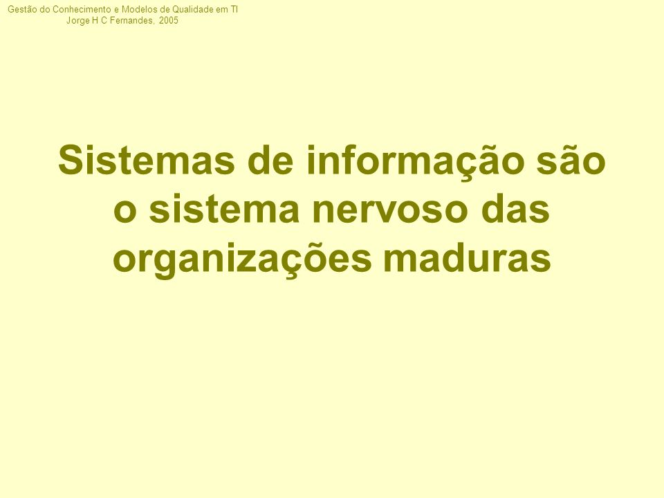 Gestão do Conhecimento e Modelos de Qualidade em TI Jorge H C Fernandes, 2005 Operacionais Táticas Estratégicas Negócios T r a n s a ç õ e s O r g a n i z a ç ã o Sistemas de Informação