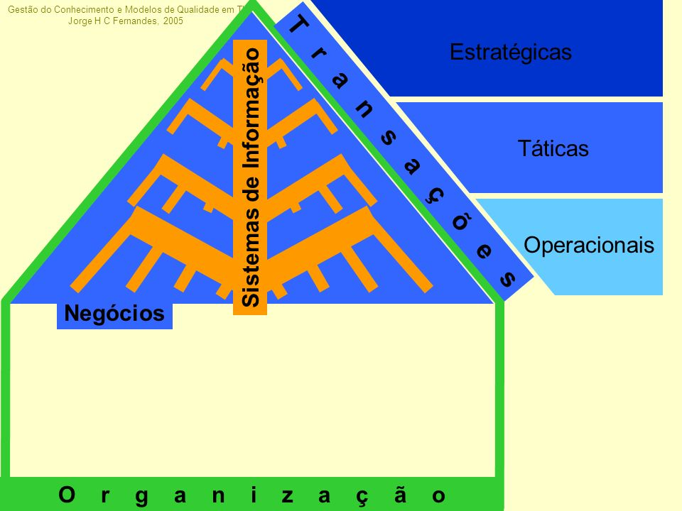 Gestão do Conhecimento e Modelos de Qualidade em TI Jorge H C Fernandes, 2005 Operacionais Táticas Estratégicas Negócios T r a n s a ç õ e s O r g a n