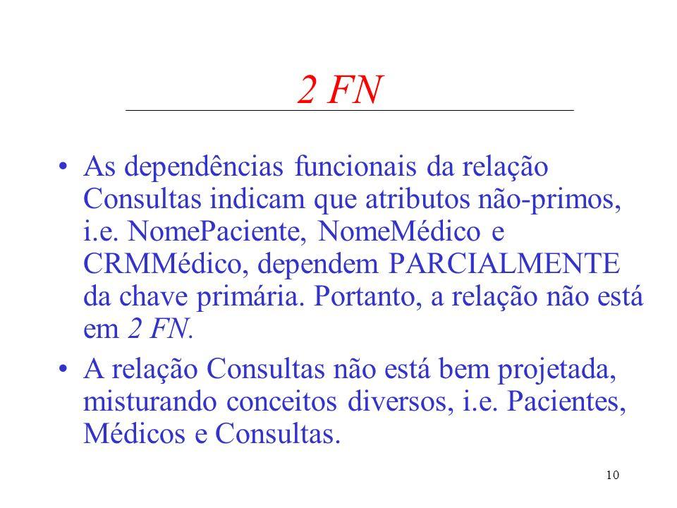 10 2 FN As dependências funcionais da relação Consultas indicam que atributos não-primos, i.e. NomePaciente, NomeMédico e CRMMédico, dependem PARCIALM