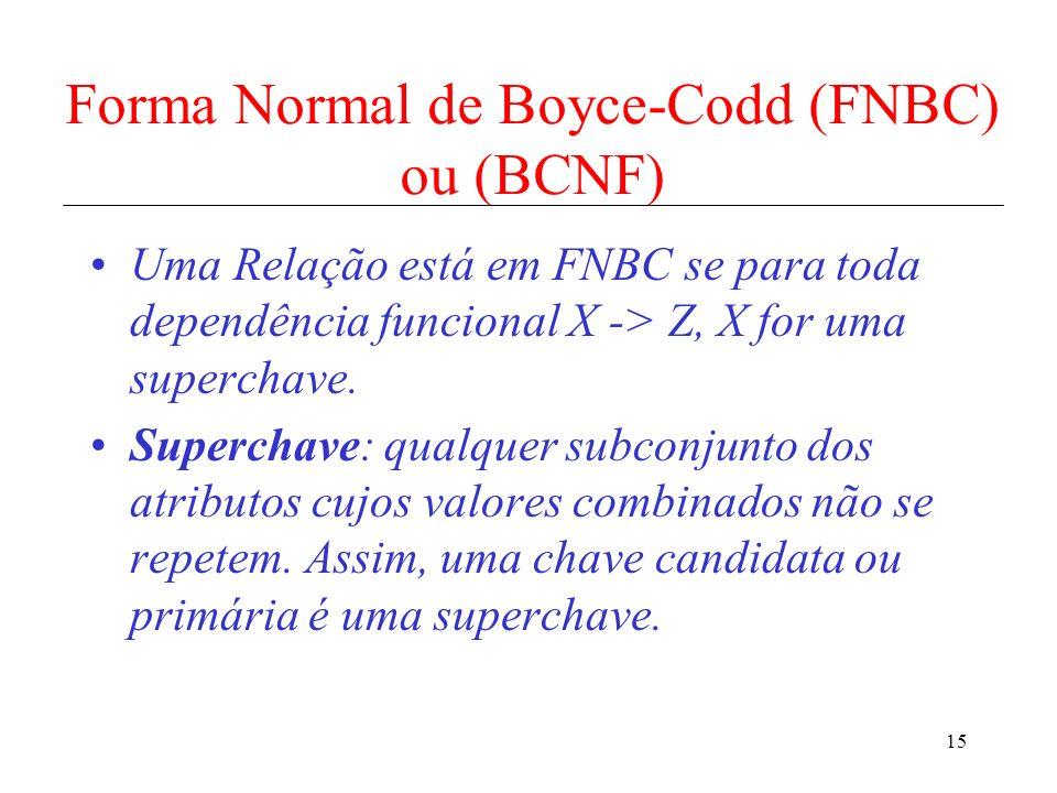 15 Forma Normal de Boyce-Codd (FNBC) ou (BCNF) Uma Relação está em FNBC se para toda dependência funcional X -> Z, X for uma superchave. Superchave: q