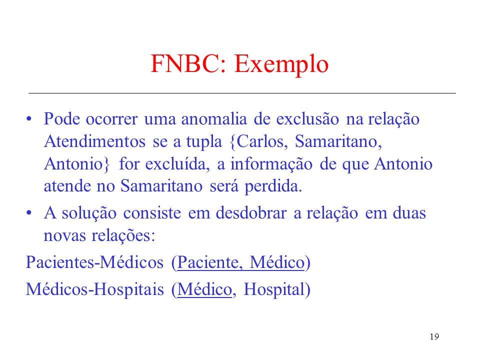 19 FNBC: Exemplo Pode ocorrer uma anomalia de exclusão na relação Atendimentos se a tupla {Carlos, Samaritano, Antonio} for excluída, a informação de