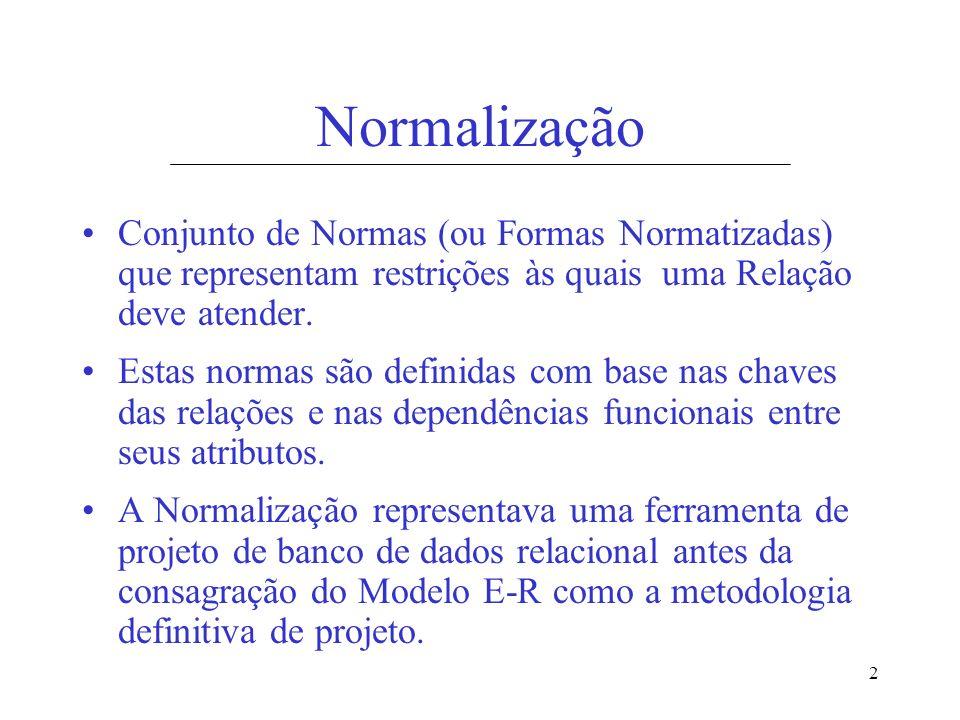2 Normalização Conjunto de Normas (ou Formas Normatizadas) que representam restrições às quais uma Relação deve atender. Estas normas são definidas co