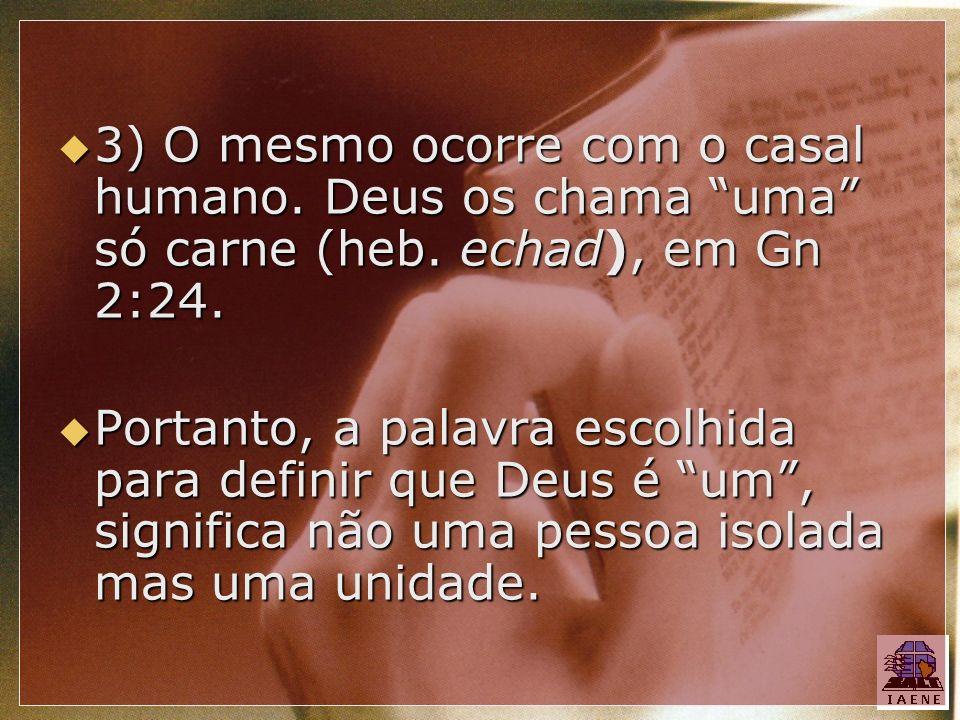 3) O mesmo ocorre com o casal humano. Deus os chama uma só carne (heb. echad), em Gn 2:24. 3) O mesmo ocorre com o casal humano. Deus os chama uma só