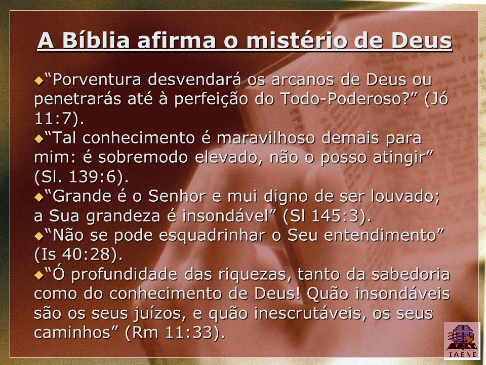 A Bíblia afirma o mistério de Deus Porventura desvendará os arcanos de Deus ou penetrarás até à perfeição do Todo-Poderoso? (Jó 11:7). Porventura desv