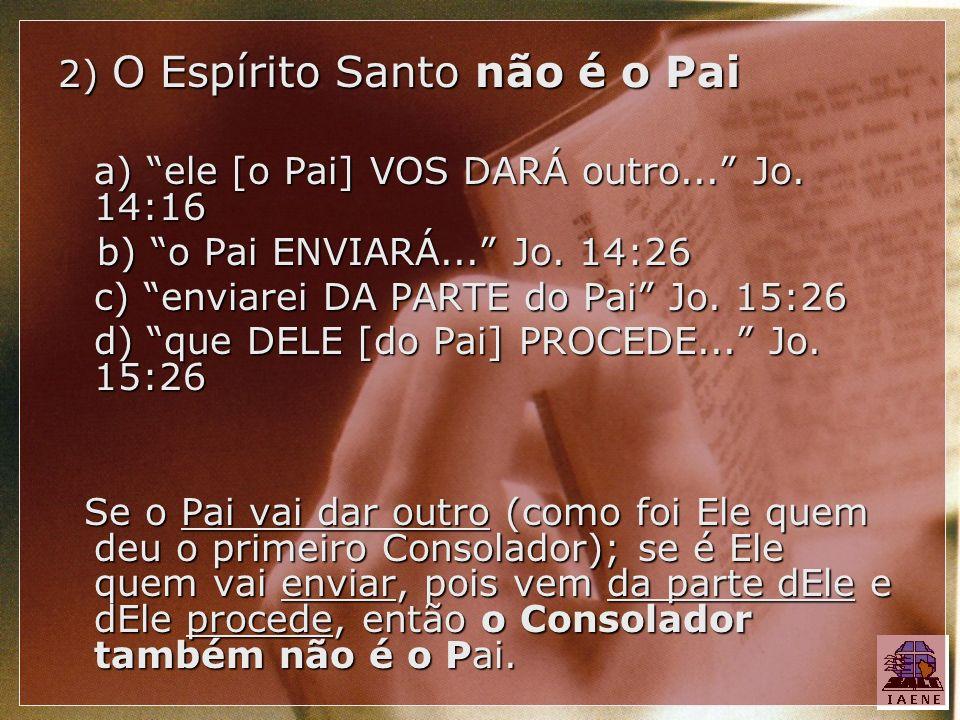 2) O Espírito Santo não é o Pai a) ele [o Pai] VOS DARÁ outro... Jo. 14:16 b) o Pai ENVIARÁ... Jo. 14:26 b) o Pai ENVIARÁ... Jo. 14:26 c) enviarei DA