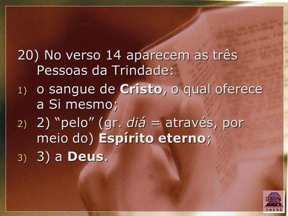 20) No verso 14 aparecem as três Pessoas da Trindade: 1) o sangue de Cristo, o qual oferece a Si mesmo; 2) 2) pelo (gr. diá = através, por meio do) Es