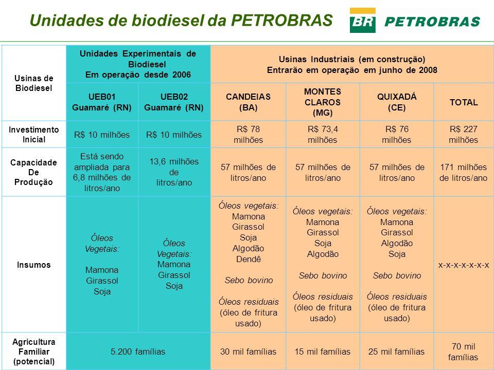 Usinas de Biodiesel Unidades Experimentais de Biodiesel Em operação desde 2006 Usinas Industriais (em construção) Entrarão em operação em junho de 200