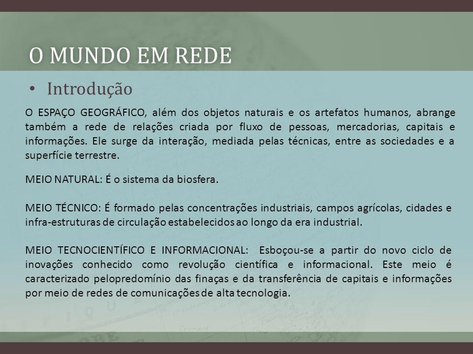 O MUNDO EM REDEO MUNDO EM REDE Introdução O ESPAÇO GEOGRÁFICO, além dos objetos naturais e os artefatos humanos, abrange também a rede de relações cri