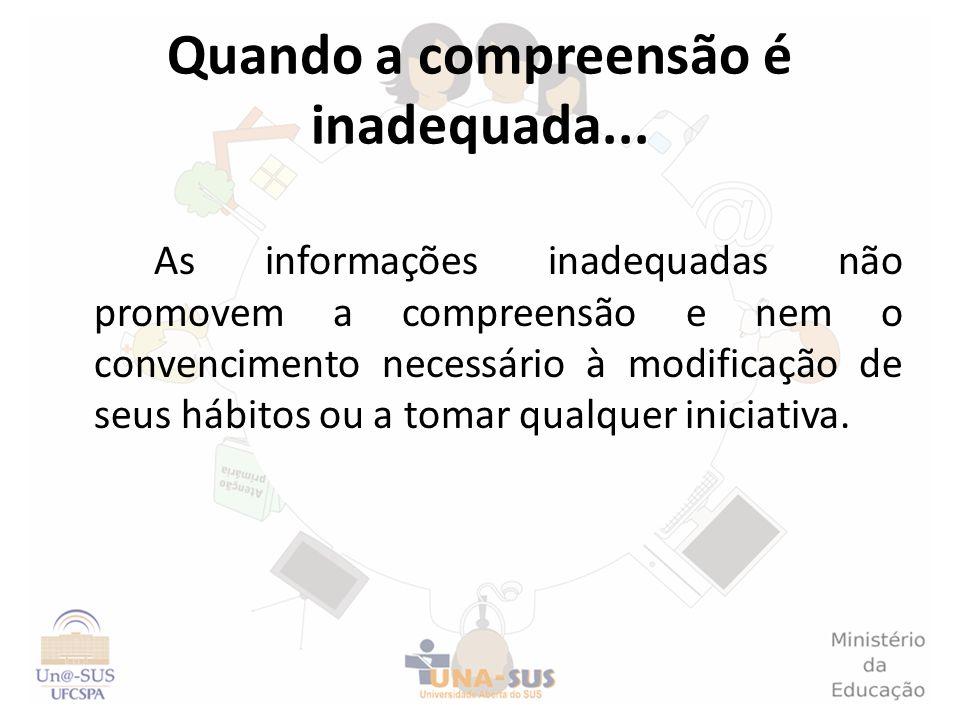 Quando a compreensão é inadequada... As informações inadequadas não promovem a compreensão e nem o convencimento necessário à modificação de seus hábi
