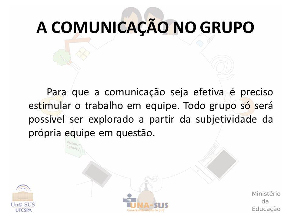 A COMUNICAÇÃO NO GRUPO Para que a comunicação seja efetiva é preciso estimular o trabalho em equipe. Todo grupo só será possível ser explorado a parti