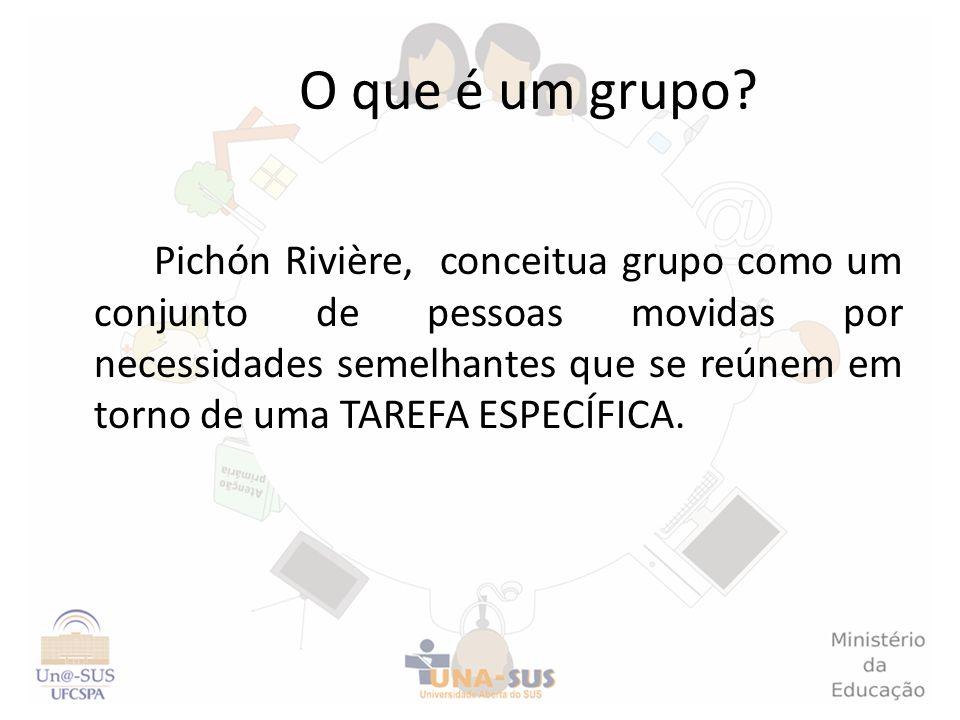 O que é um grupo? Pichón Rivière, conceitua grupo como um conjunto de pessoas movidas por necessidades semelhantes que se reúnem em torno de uma TAREF