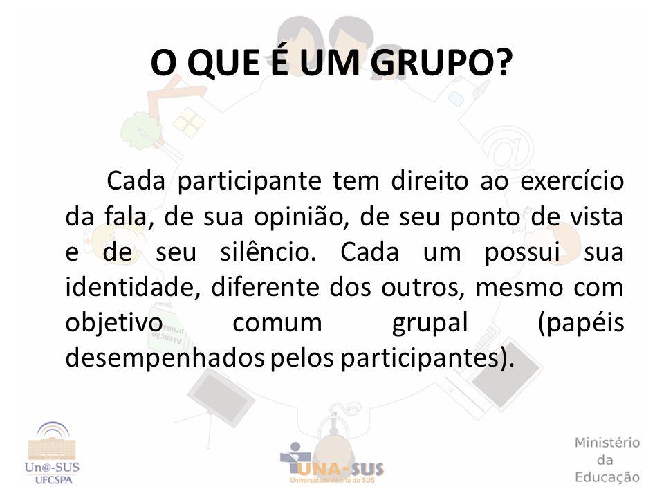 O QUE É UM GRUPO? Cada participante tem direito ao exercício da fala, de sua opinião, de seu ponto de vista e de seu silêncio. Cada um possui sua iden