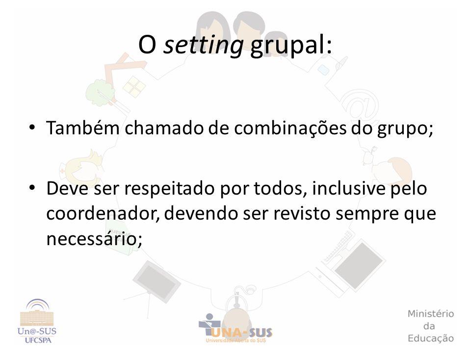 O setting grupal: Também chamado de combinações do grupo; Deve ser respeitado por todos, inclusive pelo coordenador, devendo ser revisto sempre que ne