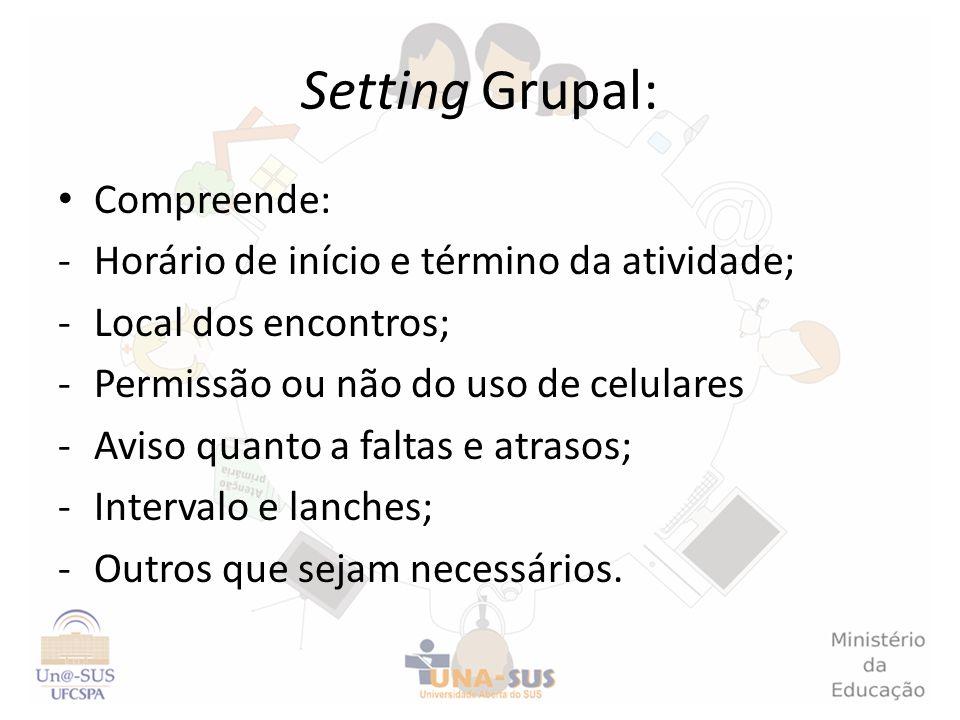 Setting Grupal: Compreende: -Horário de início e término da atividade; -Local dos encontros; -Permissão ou não do uso de celulares -Aviso quanto a fal