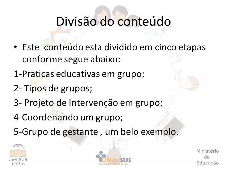 Divisão do conteúdo Este conteúdo esta dividido em cinco etapas conforme segue abaixo: 1-Praticas educativas em grupo; 2- Tipos de grupos; 3- Projeto
