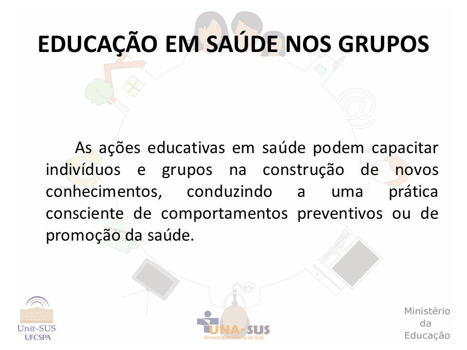EDUCAÇÃO EM SAÚDE NOS GRUPOS As ações educativas em saúde podem capacitar indivíduos e grupos na construção de novos conhecimentos, conduzindo a uma p