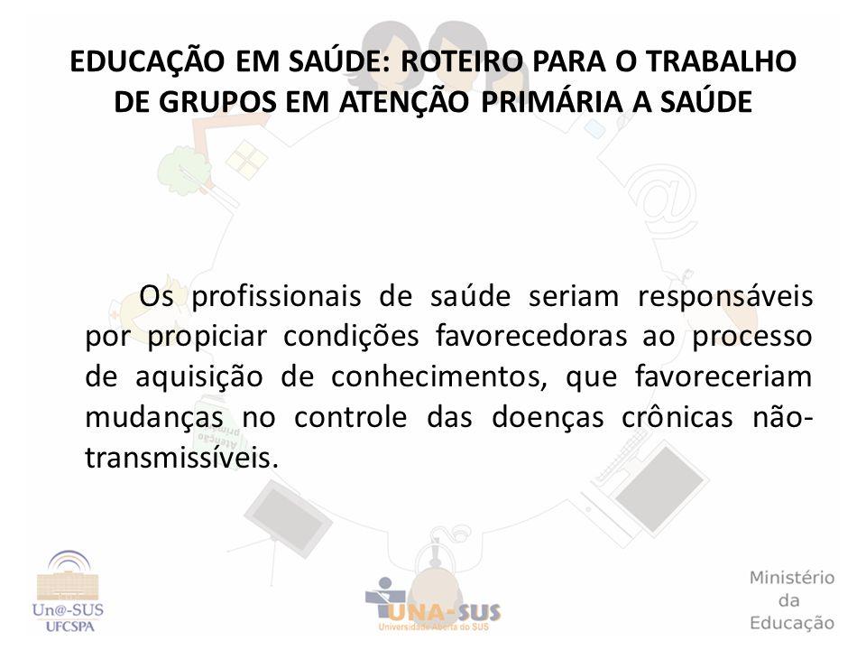 EDUCAÇÃO EM SAÚDE: ROTEIRO PARA O TRABALHO DE GRUPOS EM ATENÇÃO PRIMÁRIA A SAÚDE Os profissionais de saúde seriam responsáveis por propiciar condições